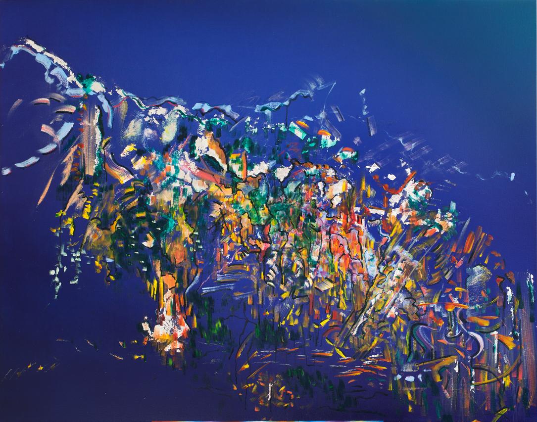 Lori Hyland, RIPPLING EFFECT, Oil, acrylic, metallic on Canvas (48 x 60'')